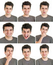Man face expressions young composite isolated on white background Royalty Free Stock Image