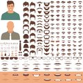 Man face parts, character head, eyes, mouth, lips, hair and eyebrow icon set
