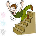 Man Falling Down Flight of Stairs Royalty Free Stock Photo