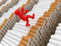 Man falls from cigarettes clipping path included image with Stock Photo