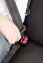 Man fastening seat belt in car transportation and vehicle concept Royalty Free Stock Photography
