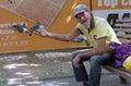 A man feeds birds and pigeons at the park bratislava slovak republic september rd Stock Image