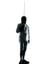 Man fencing silhouette saluting one in studio isolated on white background Stock Photos