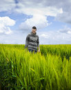 Man on a field Royalty Free Stock Photography