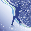 Man figure skates.Design template with snowflakes  Stock Photos
