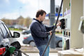 Man filling gasoline fuel Royalty Free Stock Photo