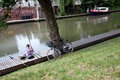 Man fishing in canal Royalty Free Stock Images