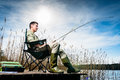 Man fishing at lake sitting on jetty Royalty Free Stock Photo