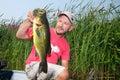 Man Fishing Largemouth Bass Royalty Free Stock Photo