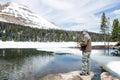 Man fishing in mountain mirror lake uinta wasatch cache natio national forest utah Stock Photos
