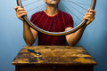 Man fixing bicycle tyre worker is a tire Royalty Free Stock Photography