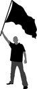 Man with flag silhouette vector illustration Royalty Free Stock Photography