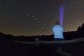 Man with a flashlight pointing to Polaris star. North star. Starry night Ursa Major, Big Dipper constellation. Beautiful night sky Royalty Free Stock Photo