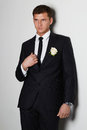 Man with flower. young groom man in suit Royalty Free Stock Photo