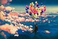 Man flying with colorful balloons in beautiful cloudy sky