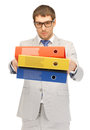 Man with folders bright picture of handsome Royalty Free Stock Image