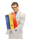 Man with folders bright picture of handsome Royalty Free Stock Photo