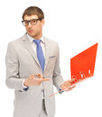 Man with folders bright picture of handsome Stock Image