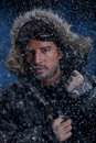Man freezing in cold weather dramatic image of scruffy Stock Photography