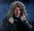 Man freezing in cold weather dramatic image of scruffy Stock Images