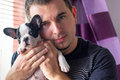 Man with french bulldog puppy attractive Royalty Free Stock Photo