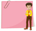 A man in front of a pink empty template with a paperclip illustration on white background Stock Photos