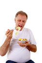 Man with a fruit salad Royalty Free Stock Photography