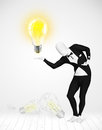 Man in full body with glowing light bulb funny suit new idea concept Stock Images