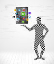 Man in full body suit holdig tablet pc funny new technology concept Royalty Free Stock Photography