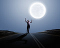 Man and full moon Royalty Free Stock Photo