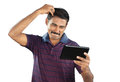 Man with funny expression indian young Royalty Free Stock Photography