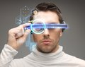 Man in futuristic glasses Royalty Free Stock Photo