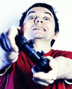 Man with game pad. Royalty Free Stock Images