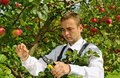 Man in garden. Royalty Free Stock Photography