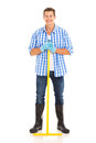 Man garden rake young standing with metal isolated on white Stock Photos