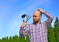 Man with garden tools Royalty Free Stock Photo