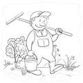 Man gardener in a garden, contours