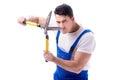 Man gardener with gardening scissors on white background isolate Royalty Free Stock Photo