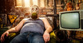 Man in a gas mask Stock Image