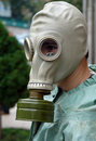 Man in a gas mask outdoors Royalty Free Stock Image