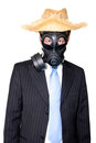 Man with gasmask hat and sunglasses Royalty Free Stock Photo