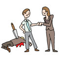 Man getting a promotion by backstabbing his co worker an image of Stock Photos