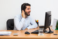 Man getting some good news over the phone. Using headset Royalty Free Stock Photo