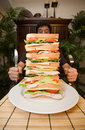 Man and giant sandwich Royalty Free Stock Photo