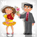 Man gives to woman flower and chocolates Royalty Free Stock Photography