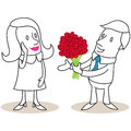Man giving flowers to a woman vector illustration of monochrome cartoon characters bouquet of red roses flattered Stock Photo
