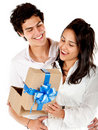 Man giving his girlfriend a present Stock Images