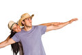 Man giving his pretty girlfriend a piggy back on white background Royalty Free Stock Image