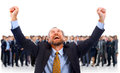 A man glad in the background of his team Royalty Free Stock Images