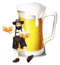 A man with a glass full of beer illustration on white background Stock Photography